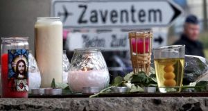 A street memorial to victims of Tuesday's Zaventem airport bombings is seen in Brussels, Belgium. Photograph: Charles Platiau/Reuters