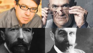 Top, Donnacha Dennehy and Colm Tóibín. Bottom, Joseph Conrad and Roger Casement. Photographs: Britt Olsen-Ecker, Gareth Cattermole/Getty Images, George C Beresford/Getty Images