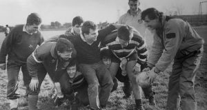 Coach Dudley Herbert(far right) coaching his players in the scrum, from left: Odran Power, Paul Wallace, Tom Prendergast, Gareth Dinneen, Mike O'Mara, Shane Leahy, Philip Madigan and Des O'Malley