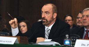 Ciaran Staunton speaking at a US Senate hearing on sepsis in 2013, following his son's death from the infection in 2012. Photograph: rorystauntonfoundationforsepsis.org