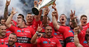 Toulon celebrate their Champions Cup final win over Clermont Auvergne at Twickenham in May 2015. Photograph:    Dan Sheridan/Inpho