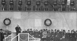 President Éamon de Valera speaks  at the Garden of Rememberance on Easter Sunday 1966 during an event to mark the 50th anniversary of the Rising