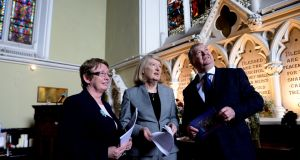 The Rev Bridget Spain, Prof Mary Daly Royal Irish Academy and broadcaster Joe Duffy at the Unitarian Church St Stephens Green where a reading of all those who died around Easter 1916 took place. Photograph: Cyril Byrne/The Irish Times