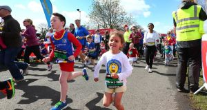 Children running during the Spar Mini Great Ireland Run in 2015. Photograph: Cathal Noonan/Inpho