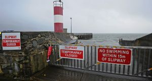 The slipway alongside Buncrana Pier, which is now closed for public admittance. Photograph: Trevor McBride