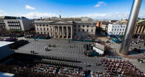 Easter Sunday commemoration ceremony at the GPO in Dublin. Photograph: Maxwells