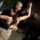 US president Barack Obama dances the tango during a state dinner hosted by Argentina's president Mauricio Macri in Buenos Aires. Photograph: Carlos Barria/Reuters