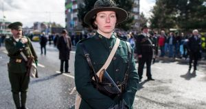 Actor Niamh O'Rourke portrays  Countess Constance Markievicz at an Easter Rising centenary commemoration in Belfast. Photograph: Liam McBurney/PA Wire