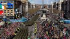 Members of the Defence Forces march through  Dublin  as part of the programme of commemorative events to mark the 100th anniversary of the Easter Rising.  Photograph: Maxwells/AFP/Getty Images