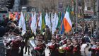 Members of the Defence Forces pass the GPO in Dublin. Photograph: Alan Betson/The Irish Times