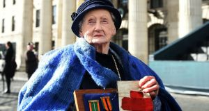Shelia O'Leary (94) at the 1916  commemoration parade  outside the GPO in  Dublin. Photograph: Charles McQuillan/Getty Images