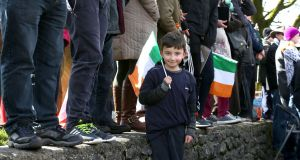 Kevin Matthew Finnerty (7) from Gurteen, Co Galway, attended the Athenry 1916 Centenary Commemoration on Easter Monday. Photograph: Joe O'Shaughnessy.