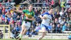 Kerry's Donnchadh Walsh in action against Karl  O'Connell of Monaghan during the Division One clash at Clones. Photograph: Andrew Paton/Inpho