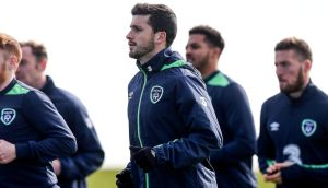 Shane Long with the Republic of Ireland squad at the FAI National Training Centre in Dublin on Monday. Photograph: Donall Farmer/Inpho