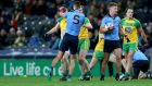 Dublin's James McCarthy clashes with Donegal's Martin McElhinney at Croke Park. Photograph: Donall Farmer/Inpho