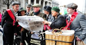 Joseph Burke, Mary Kennedy, Tomas Febvre, Brenadan Plunkett, Teresa Farrell and Maureen McDermott and Brian Murphy in period costume outside the GPO. Photograph: Aidan Crawley