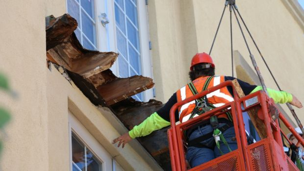 "A process known as ""destructive testing"" of the structures at the spot from which the balcony collapsed at the Library Gardens apartment block on Kittredge Street near downtown Berkeley is carried out by experts. Photograph: Alameda County District Attorney's Office"