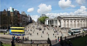 Artists' impressions of the latest plans for the pedestrianisation of College Green in Dublin.