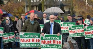File image of IFA members protesting at beef prices.  On left with green coat is Henry Burns, who is running as presidential candidate for the association.  File photograph: Alan Betson/The Irish Times