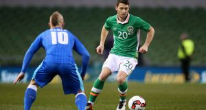 Republic of Ireland midfielder Wes Hoolahan in action against Slovakia's Miroslav Stoch. Photograph: Brian Lawless/PA Wire