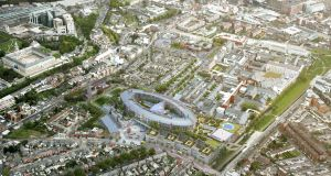 An aerial view of the planned children's hospital at St James's Hospital in Dublin