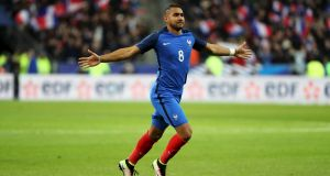 Dimitri Payet scored a stunning free-kick as France beat Russia 4-2. Photograph: Reuters