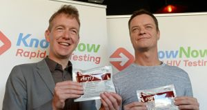 Tiernan Brady (left), director of gay HIV strategies for GLEN, and Rory O'Neill (aka Ms Panti Bliss) at the launch of 'KnowNow' a national, free rapid HIV testing programme . Photograph: Eric Luke/The Irish Times