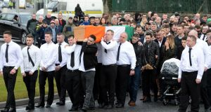 The funeral of dissident republican Vinnie Ryan , at Donaghmede , Co. Dublin. Photograph: Eric Luke / The Irish Times