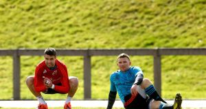 Conor Murray and Andrew Conway during Munster squad training at UL, Limerick. Photograph: James Crombie/Inpho