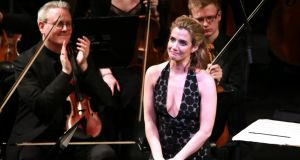 Lisa Dwan on stage at the NCH. Photograph: Frances Marshall