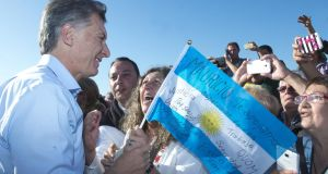 Argentine president Mauricio Macri:  country returns to the markets after 15 years  of legal conflict between Argentina and holders of its defaulted debt. Photograph: EPA