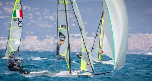 Ireland's Ryan Seaton and Matt McGovern competing in the 49er skiff event at the Princesa Sofía Regatta where they are in joint first overall with up to four races remaining. Photograph: David Branigan/Oceansport.