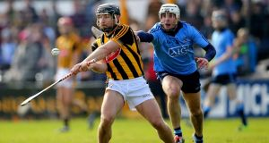 Kilkenny's Richie Hogan and Darragh Ó Connell of Dublin in action during their Allianz Hurling League Division 1A match  Nowlan Park, Kilkenny. Photograph: Inpho