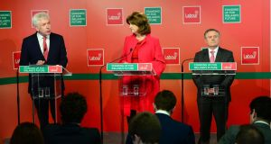 "Alex White, Joan Burton and Brendan Howlin in Citywest: if Labour  wants to ""make amends"" to voters, how does it do that from opposition? Photograph: Dara Mac Dónaill/The Irish Times"