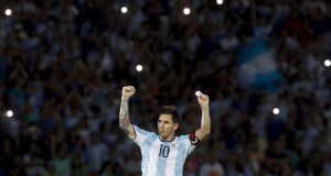 Lionel Messi celebrates after scoring for Argentina against Bolivia. File photograph: Enrique Marcarian/Reuters
