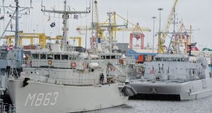 The Standing Nato Mine Counter Measures Group 1 vessels, moored in Dublin harbour, are open to visitors on Saturday and Sunday from 2pm to 4pm.  Photograph: Alan Betson/The Irish Times