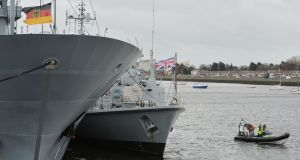 The  FGS Donau  (left) with the auxiliary vessel HMS Ramsey, forming part of  Standing Nato Mine Counter Measures Group 1, which is  moored in Dublin harbour.  Photograph: Alan Betson/The Irish Times