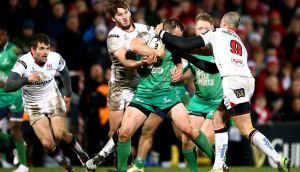 Ulster's Stuart McCloskey and Ruan Pienaar tackle John Cooney of Connacht. Photograph: James Crombie/Inpho