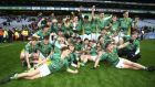 The St Brendan's players celebrate with the Hogan Cup. Photograph: Ken Sutton/Inpho