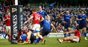 Leinster's Johnny Sexton scores his sides first try Photograph: Inpho/James Crombie