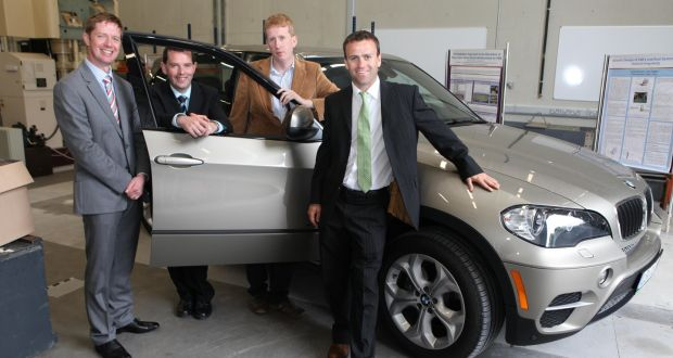 Dr Edward Jones and Dr Martin Glavin, of the Connaught Automotive Research, with Liam Kilmartin, college of engineering and informatics, NUI Galway and Valeo's automated parking R&D director Derek Savage: the groups have teamed up to develop technology to make self-driving vehicles safer