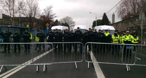 Riot squad and uniformed gardaí. Photograph: Conor Lally