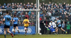 Dean Rock finds the net for Dublin against Roscommon in Carrick-on-Shannon, Leitrim, after the game was switched from Dr Hyde Park. Photograph: James Crombie/Inpho