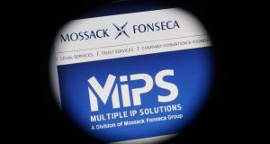 The website of the Mossack Fonseca law firm is pictured through a large format lens. Photograph: Reuters