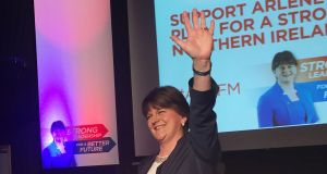 Democratic Unionist Party leader Arlene Foster launching  her party's  manifesto for the Northen Ireland Assembly election at   the Spectrum Centre, Belfast on Monday. Photograph: David Young/PA Wire.
