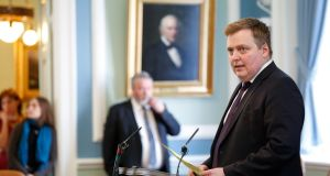 Iceland's prime minister Sigmundur David Gunnlaugsson  speaks during a parliamentary session in Reykjavik on Monday. Photograph: AP Photo/Brynjar Gunnarsson