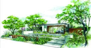 The drawing for Paul Martin's Chelsea Flower Show 'Garden of mindful living'