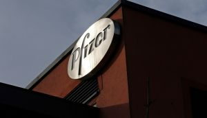 A company logo is seen at a Pfizer office in Dublin. Photograph: Cathal McNaughton/Reuters