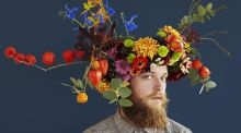 'Mr October' with a floral crown by Fiona Haser Bizony of Electric Daisy Flower Farm. Image reproduced courtesy of Alma Haser
