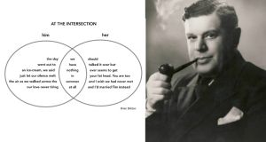 Form plays a major part in Brian Bilston's writing; poems appear as tweets, Scrabble clues, tree images, Excel spreadsheets and even Venn diagrams, as with his poem At the Intersection, which won the 2014 Great British Write Off.